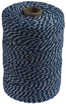 Katoentouw klos van 200 g, blauw-wit, +/- 200 m