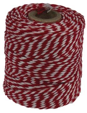 Katoentouw klos van 50 g, rood-wit, +/- 45 m