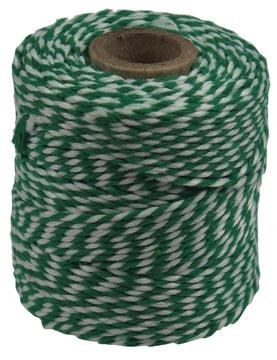 Katoentouw klos van 50 g, groen-wit, +/- 45 m