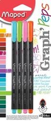 Maped Graph'Peps fineliner fancy, blister met 4 stuks in geassorteerde kleuren