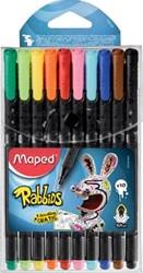 Maped Graph'Peps fineliner Rabbids, blister met 10 stuks in geassorteerde kleuren