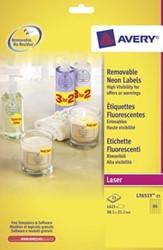 AVERY Afneembare neon etiketten ft 38,1 x 21,2 mm, doos van 25 blad, 1.625 stuks, geel