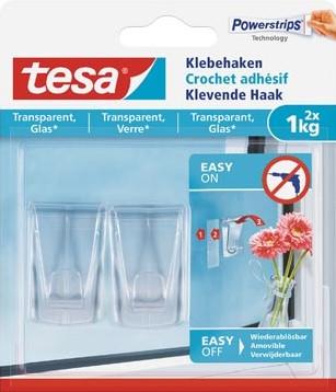 Tesa Klevende haak voor Transparant en Glas draagvermogen 1 kg blister van 2 stuks