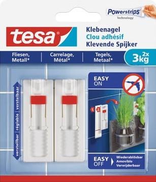 Tesa Klevende Spijker voor Tegels en Metaal verstelbaar draagvermogen 3 kg blister van 2 stuks