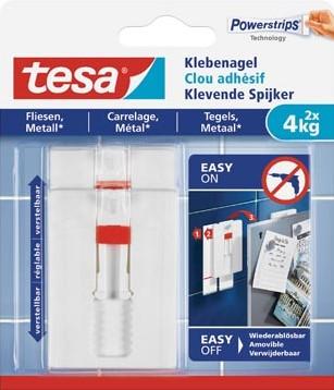 Tesa Klevende Spijker voor Tegels en Metaal verstelbaar draagvermogen 4 kg blister van 2 stuks