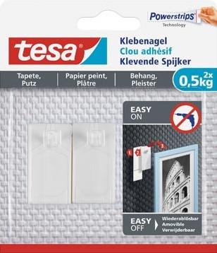 Tesa Klevende spijker voor Behang en Pleisterwerk draagvermogen 500 gram blister van 2 stuks