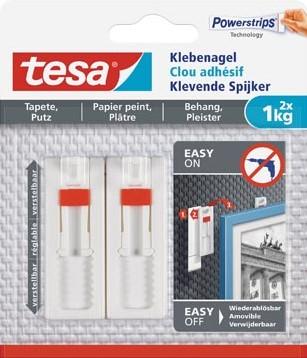 Tesa Klevende Spijker voor Behang en Pleisterwerk verstelbaar draagvermogen 1 kg blister van 2 stuks