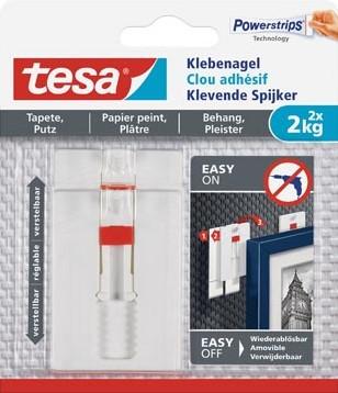 Tesa Klevende Spijker voor Behang en Pleisterwerk , verstelbaar draagvermogen 2 kg blister van 2 stuks
