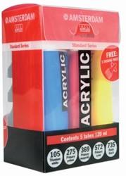 Talens acrylverf Amsterdam 5 tubes van 120 ml in primaire kleuren