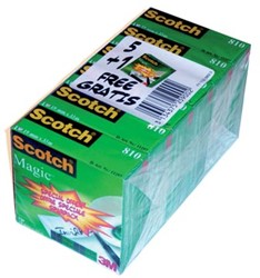 Scotch® plakband Magic  Tape ft 19 mm x 33 m, pak van 6 rollen