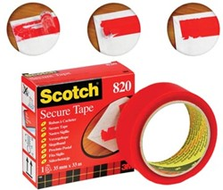 Scotch® plakband Secure Tape rood