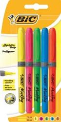 Bic markeerstift Highlighter Grip, blister van 5 stuks in geassorteerde kleuren