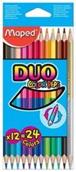 Maped driehoekig kleurpotlood Color'Peps Duo 12 potloden in een kartonnen etui = 24 kleuren