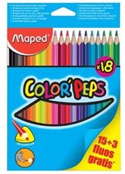 Maped kleurpotlood Color'Peps 15 kleurpotloden + 3 fluo