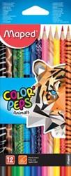 Maped kleurpotloden Color'Peps Animals, kartonnen etui met 12 stuks in geassorteerde kleuren