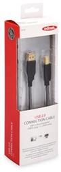 Ednet USB kabel 2.0 type A - B, 1,8 meter, verguld
