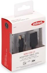Ednet USB kabel 2.0 OTG type mini B - A, 0,2 meter