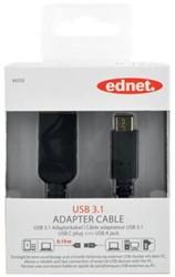 Ednet USB 3.1 kabel type C - A, 0,15 meter
