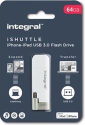 Integral iShuttle USB 3.0 stick, 64 GB, wit
