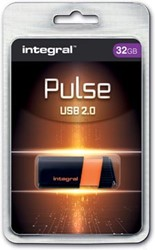 Integral Pulse USB 2.0 stick, 32 GB, zwart/oranje