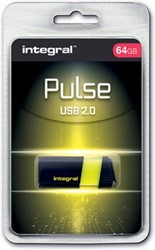 Integral Pulse USB 2.0 stick, 64 GB, zwart/geel