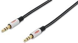 Ednet audio kabel, stereo 3.5 mm, 1,5 meter, zwart en zilver