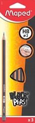 Maped potlood Black'Peps HB, 3 stuks op blister, zonder gum