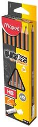 Maped Black'Peps potlood Jumbo, HB, met gumptip, doos met 12 stuks