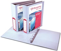 Pergamy personaliseerbare ringmap, ft A4, 4 D-ringen van 20 mm, wit