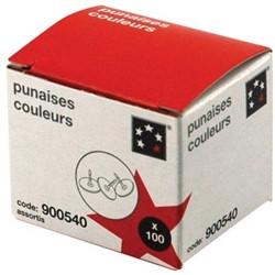 5Star Punaises geassorteerde kleuren, doos van 100 stuks