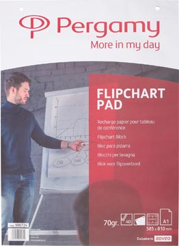 Pergamy flipchartblok ft A1 (58,5 x 81 cm), geruit, pak met 40 blad