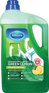 Albiore geconcentreerd vloeibaar afwasmiddel Green Lemon flacon van 5 l