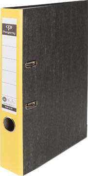 A4 ordner karton gewolkt rug 50mm geel Pergamy