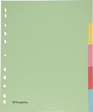 Pergamy tabbladen A4 maxi 11-gaatsperforatie karton geassorteerde pastelkleuren 5 tabs