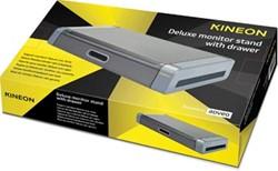 Kineon deluxe monitorstandaard met lade grijs / zwart