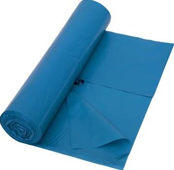 Vuilniszak 42 micron ft 65 + 50 x 135 cm blauw rol van 10 stuks