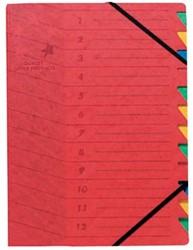 5star sorteermap karton 12 vakken rood