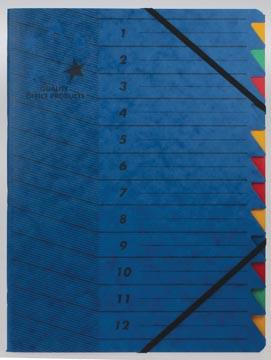 5star sorteermap karton 12 vakken blauw
