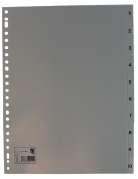 Tabbladen genummerd set 1-10 met 23-gaatsperforatie in grijs