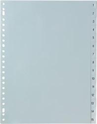 Tabbladen met nummers van 1-15 in het grijs