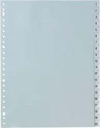 Tabbladen plastic A4 met nummers van 1-20 in het grijs