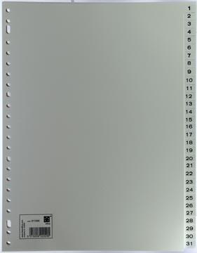 Numerieke tabbladen set van 1-31 in grijs