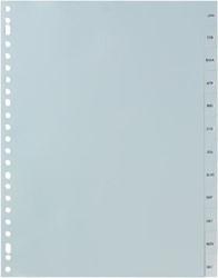 Tabbladen met maanden 12 tabs van januari-december in grijs