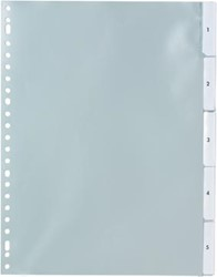 Tabbladen A4 met transparante tabs van 1-5 en verwisselbare etiketten