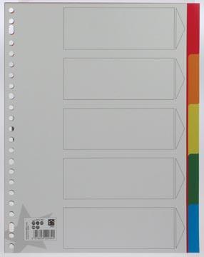 Tabbladen plastic A4 met 5 geplastificeerd tabs in geassorteerde kleuren