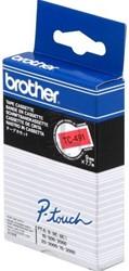 Brother tape TC491 9mm zwart op rood