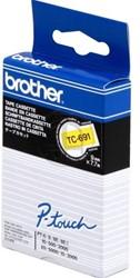 Brother tape TC691 9mm zwart op geel