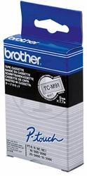 Brother tape TCM91 9mm zwart op transparant mat