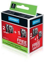 Dymo D1 tape 45013 12mm zwart op wit 2+1 gratis actiepakket
