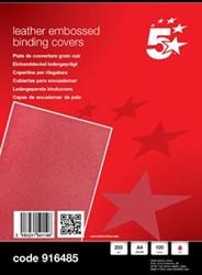 5Star schutblad A4 met lederprint rood 250 micron pak van 100
